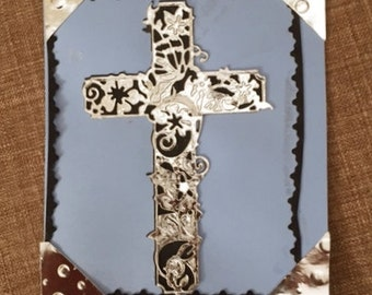6H x 5W Blue Card with Silver Cross