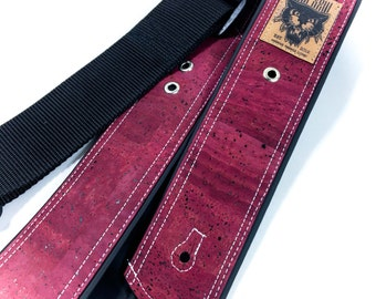 Handmade guitar strap Cork leather Burgundy - one of a kind - vegan
