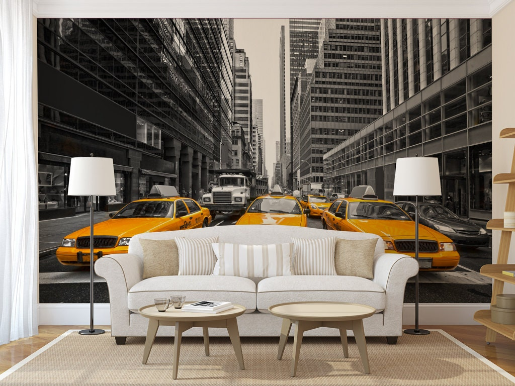 yellow cabs of new york large wall mural self adhesive peel. Black Bedroom Furniture Sets. Home Design Ideas