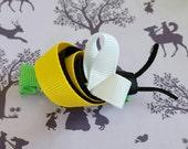 Bumble bee hair slide.Yellow black  white grosgrain ribbon crocodile hair slide. Busy Bee Ribbon Sculpture.