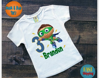 Super Why Birthday Tee Shirt or Bodysuit; Bodysuit size 6-24 Month; Tee Shirt 2T and Up; Family matching tees aval;FREE Personalization