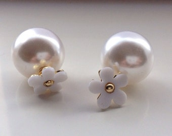 ON SALE Daisy double pearl earrings: wedding, bridal gift, engagement, bridesmaid gift, anniversary, valentine