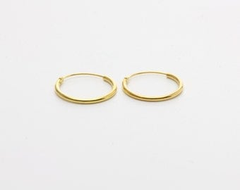 14mm Gold Plated Sterling Silver Hoops / Elegant Gold Hoops / Classic Hoops / WS15