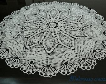 Ivory crochet Center in Lisle, handmade crochet, 75 cm diameter, unique OOAK by Kit