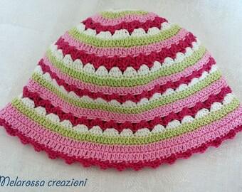 Summer hat for baby girl pink stripe Orchid, Fuchsia, white, lime green handmade crochet