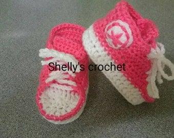 Handmade crochet converse inspired booties newborn