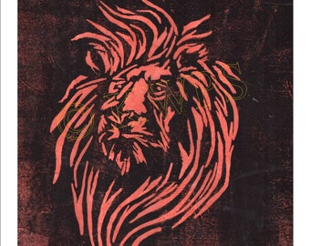 Aslan the Great Lion limited edition lino print