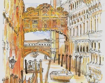 2000 Venice Bridge of Sighs watercolor painting print, made by the seller, signed