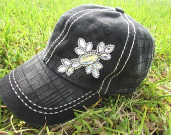 Womens black cross embellished baseball hat