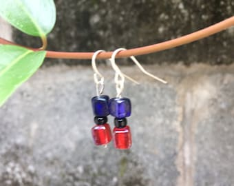 Red and blue cube earrings