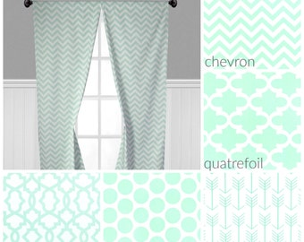 Coral gray mint green curtain panels arrow modern vintage - Mint green kitchen curtains ...