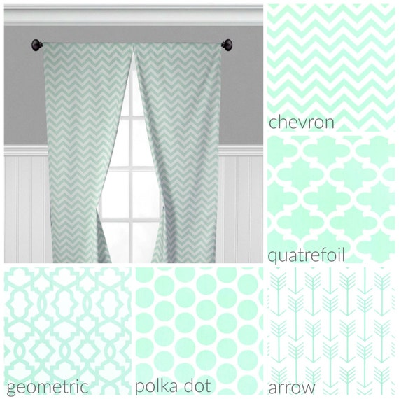 Mint green curtain panels light green curtains window - Mint green kitchen curtains ...
