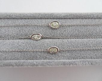Solitaire Diamond Bracelet. Unique Shape Diamond Bracelet. Diamond Bracelet. Diamond with White Gold Chain
