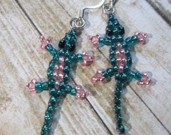 Teal and Pink Tiny Beaded Lizard Earrings