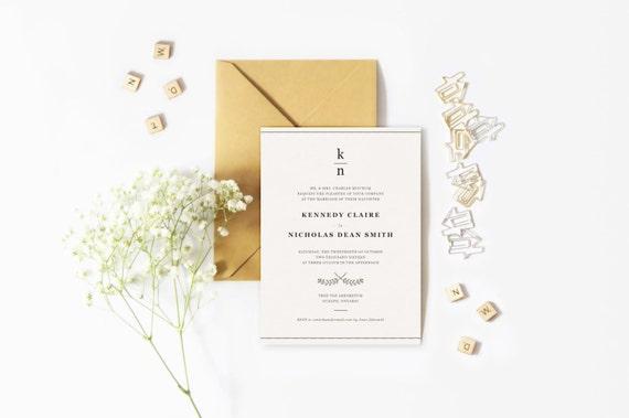 Simple Vintage Wedding Invitations: Wedding Invitation Simple Minimal Type Vintage