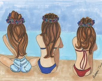 Summer Girls 5x7 print with white mat