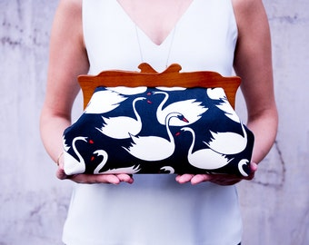 Wooden Frame Clutch Purse, Swans Evening Clutch Bag, Oversized Clutch, Large Handbag, Cosmetic Bag, Canvas Purse, Unique gifts for her