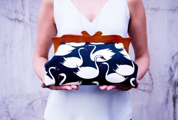 Wooden Frame Clutch Purse, Swans Purse, Evening Clutch Bag, Oversized Clutch, Cosmetic Bag, Canvas Purse, Make up Bag, Unique Gifts for her