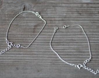 Sterling Silver Charm Bracelet Base, Silver Bracelet Base, Anchor Chain Bracelet Base, S Bracelet Base with Extension, Bracelet Components