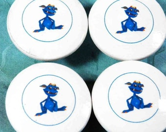 """Kids Decorative Knobs Blue Sapphire 'Sappy' the Monster Kid-2"""" Wooden Knobs. Colorful Smiling Monster Characters. Buy Just What U Need"""
