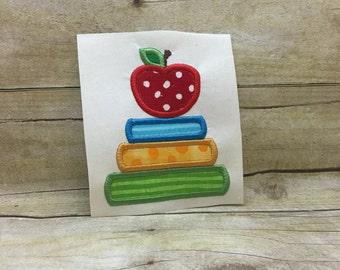 Apple With Books Applique, Back to School Applique , School Applique