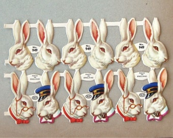 Vintage Bunny Heads Victorian Scrap Embossed Made in England Uncut (12 Piece Sheet)