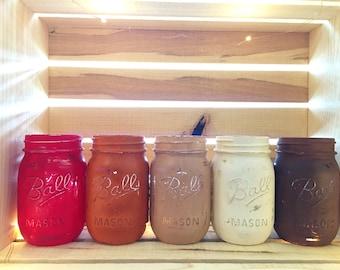 Fall Painted Mason Jars, Painted Mason Jars, Thanksgiving Mason Jars, thanksgiving decor,Mason Jar Centerpiece