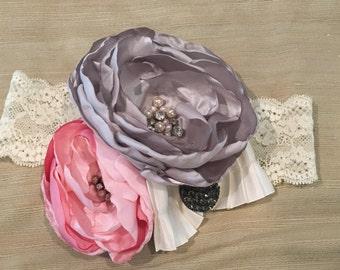 Flower headband, stretch lace headbands, wedding hair, flower girl, hair accessories, girl hair accessories, photo prop, toddler girl