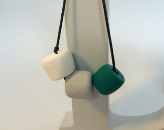 Handmade Polymer Clay Bead Necklace - White, Grey & Green