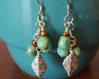 Dynamic Drop Earrings in Green and Silver