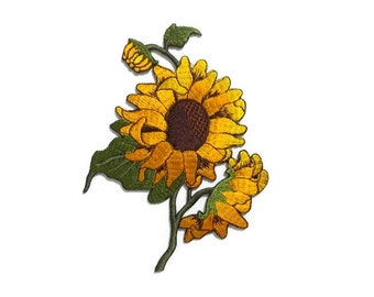 SUNFLOWER iron-on/sew-on patch, embroidery, 9 x 12.5 cm., blooming, honey yellow, syrup brown disc florets, moss green leaves (F-174)