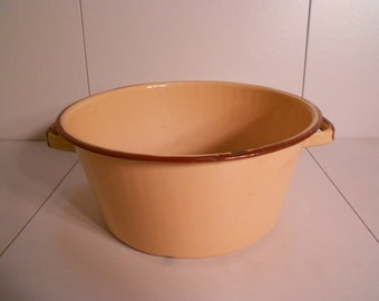 Tan & Brown Enamelware Pot with Handles