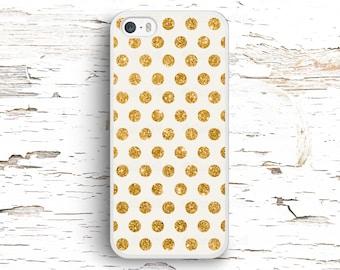 Gold Glitter Dots Case, iPhone 7 6S 6 SE 5S 5 5C 4S, Samsung Galaxy S6 Edge S5 S4 S3, LG G4 G3, Sony Xperia Z5 Z3, HTC One M8