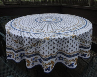 Vintage French Round Tablecloth 70 Inches Diameter