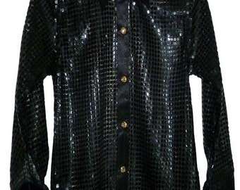 Children's Black sequin style shirt. Ideal for parties, fancy dress, stage, performance wear. Or just for fun.