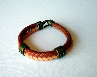 Braided leather cuff two colors brown and copper color tubes double classic leather bracelet