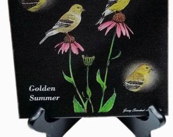 American Goldfinch - Laser Engraved Black Granite Tile by Jerry Simchuk Art Studio