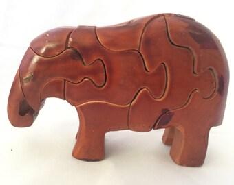 Elephant Wooden Puzzle Trunk Down (Dark Brown)