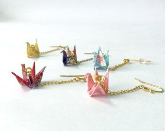 Origami crane earring miniature 1x1.5cm