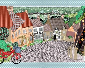Village tea towel, cotton dish towel, printed tea cloth. English village cobblestones and bicycle. Gift for Gran. Kitchen towel. Uk made