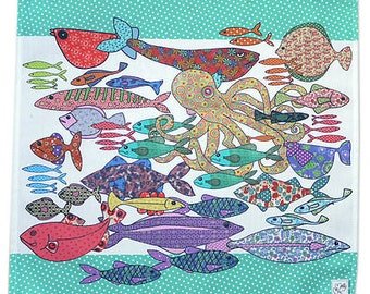 Serviettes Fish Design- sets of 2 cotton napkins - multi colored  for family gatherings or as gift idea for fish supper dinner parties