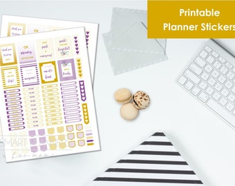 """Printable planner Stickers, purple and mustard color. US Letter Size (8.5""""x11""""), Portrait. To do digital stickers. Instant download."""