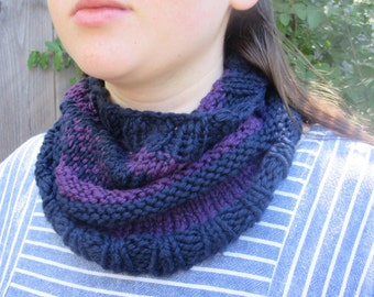 Handknit Cotton Cowl in Navy and Purple