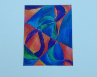 The Ribbon abstract colored pencil drawing