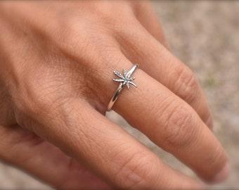 Tiny marijuana leaf ring  -  handmade cannabis ring - oxidized leaf ring - silver weed ring -mary jane sterling ring - mini marijuana ring