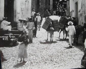 Antique 1920's Real Photo Postcard Post Card Mexico RPPC Taxco Street scene