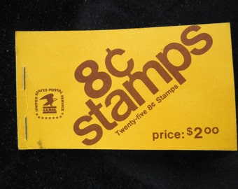 Unused Book of 25 Eight cent Eisenhower Stamps  Collectible stamps  Booklet of 25 stamps Philatelic