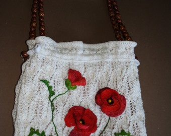 "Large linen bag ""Poppies of Tuscany"""
