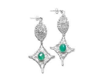 Sterling Silver Earrings, Green Onyx, Wire Wrapped, OOAK