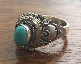 Turquoise 925 Sterling Silver Locket Ring- Size L / M